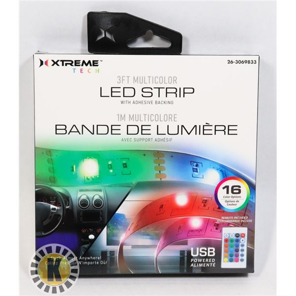 NEW 3FT MUTICOLOR LED STRIP LIGHT WITH ADHESIVE BA