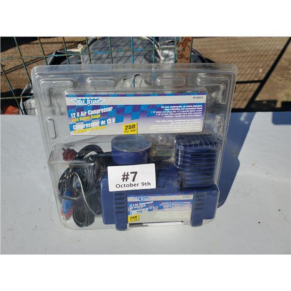 1 new pit stop 12 volt air compressor