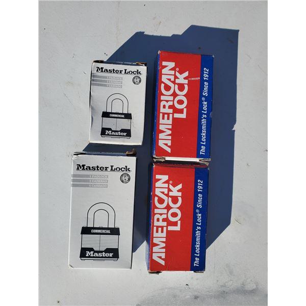 4 new locks (2 master locks & 2 American locks(