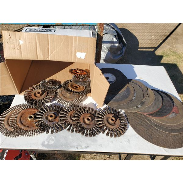 box of assorted cutting discs & wire wheels