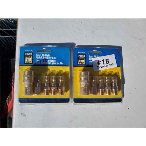 lot of two 5 pc m-style quick coupler set