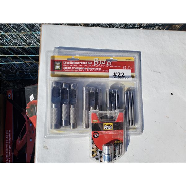 12 pc hollow punch set & drywall screw set
