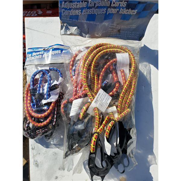 2 bags w/ tie downs & tarp cords