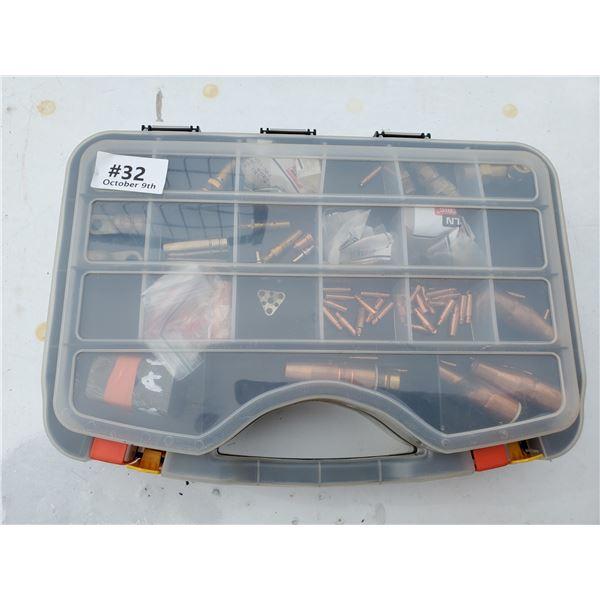 plastic case w/ welding & torch pieces