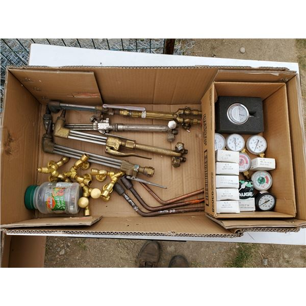 lot of assorted welding items -torches, gauges, jar of tips