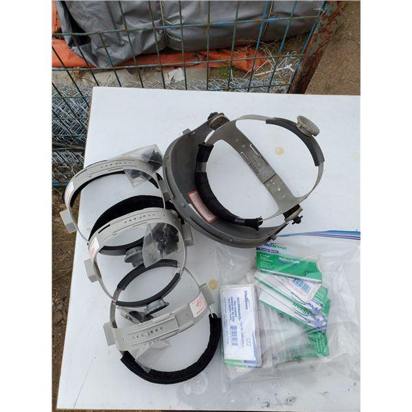 4 welding helmet liners & bag of replacement face lenses