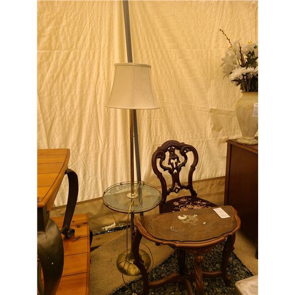 Antique Chair, table and lamp Car B
