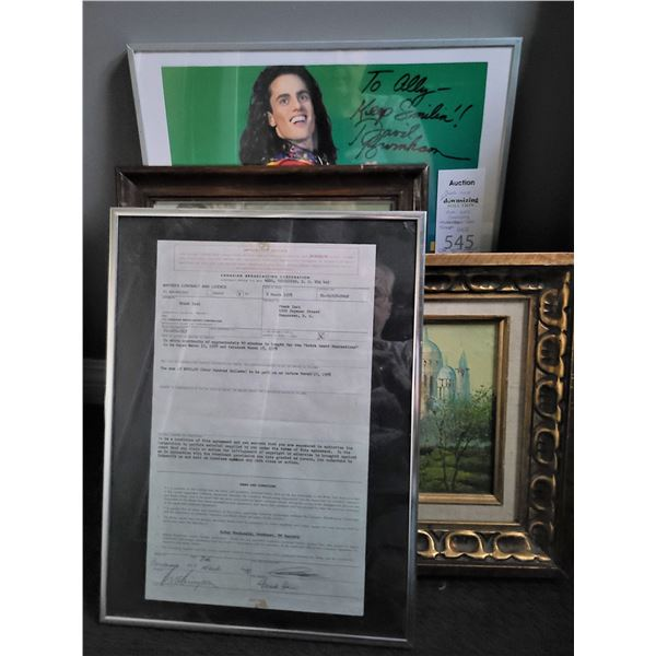 Framed CBC writers contract 1978, Original art, Poster Cat A