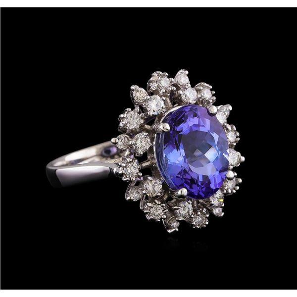4.35 ctw Tanzanite and Diamond Ring - 14KT White Gold
