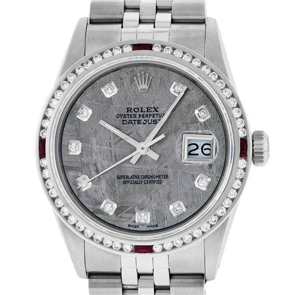 Rolex Mens SS Meteorite Diamond & Ruby Channel Set Oyster Perpetual Datejust Wri