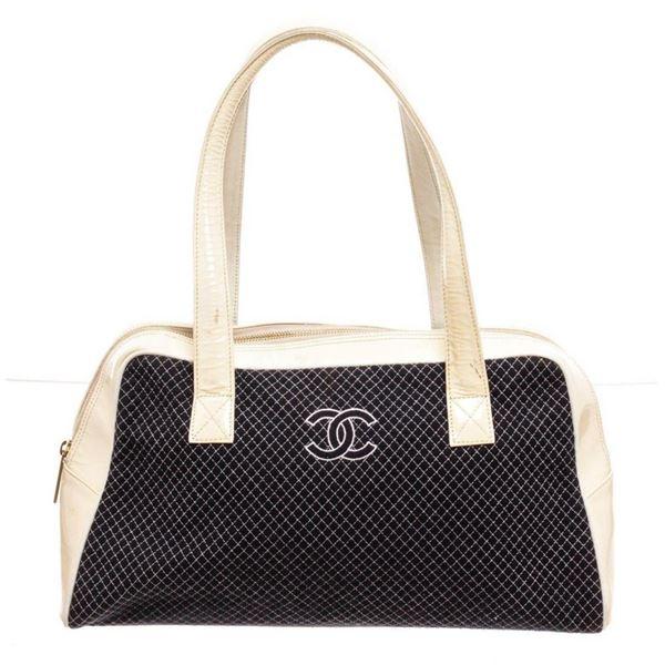 Chanel Cream Navy Blue Patent Trim Tote Bag