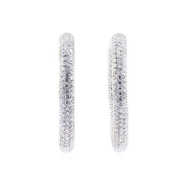 4.70 ctw Round Brilliant Cut Diamond Inside / Outside Earrings - 14KT White Gold