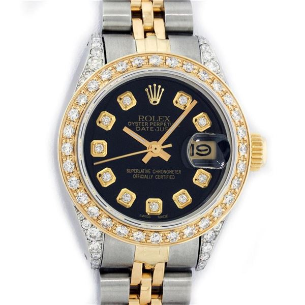 Rolex Ladies 2 Tone Black Diamond Lugs Oyster Perptual Datejust Wristwatch