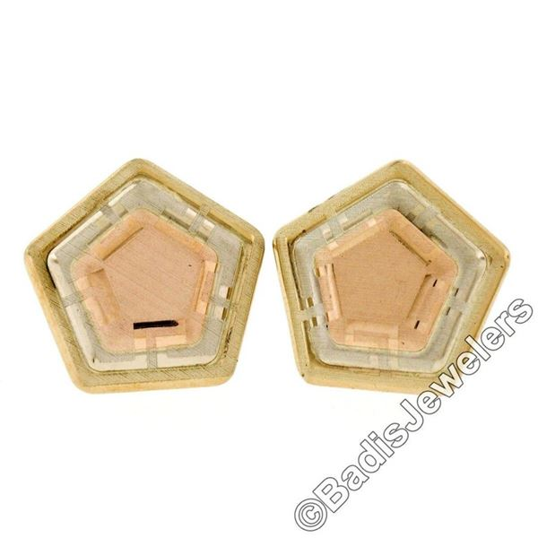 New 14kt Rose, White, and Yellow Gold Stone Finished Tiered Pentagon Stud Earrin