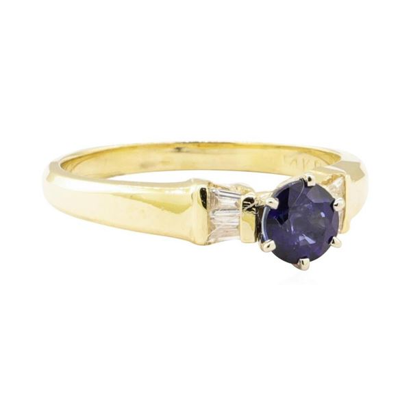0.98 ctw Blue Sapphire and Diamond Ring - 14KT Yellow Gold