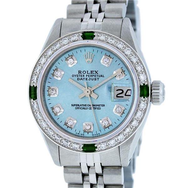 Rolex Ladies 26 Stainless Steel Sky Blue Diamond & Emerald Datejust Wristwatch