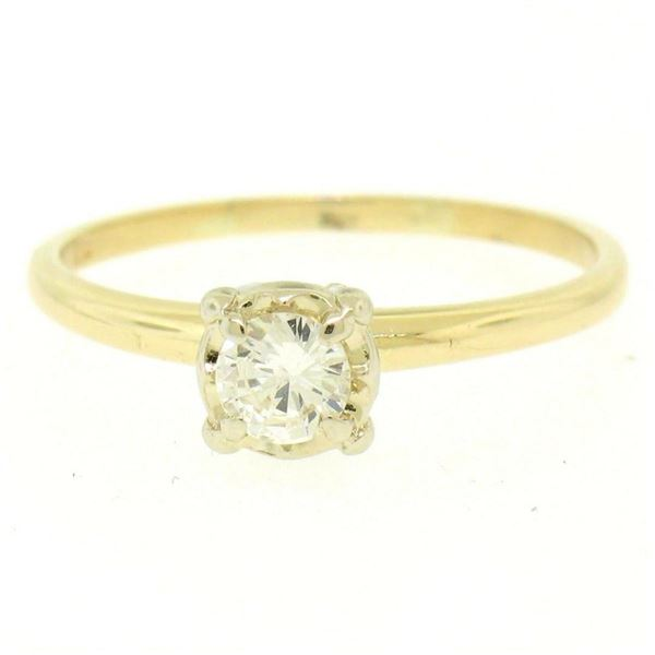 14k Two Tone Gold 0.40 ctw Illusion Prong Set Round Diamond Solitaire Band Ring