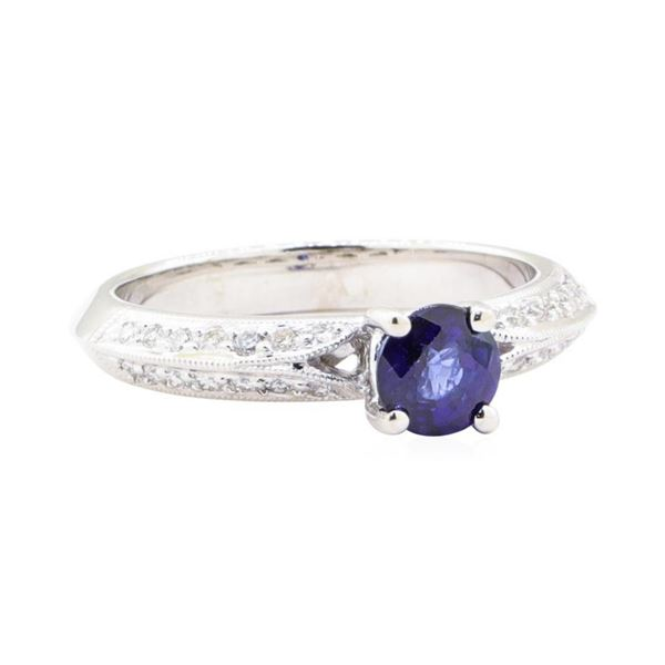 1.02 ctw Sapphire And Diamond Ring - 18KT White Gold