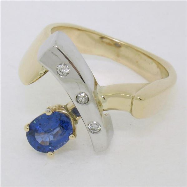 Two Tone 14K Gold 0.98 ctw QUALITY Sapphire Solitaire Ring w/ 3 Diamond Accents