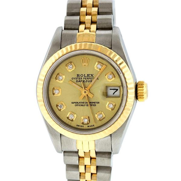 Rolex Ladies 2 Tone Champagne Diamond 26MM Datejust Wristwatch
