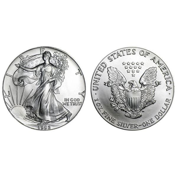 1992 American Silver Eagle .999 Fine Silver Dollar Coin