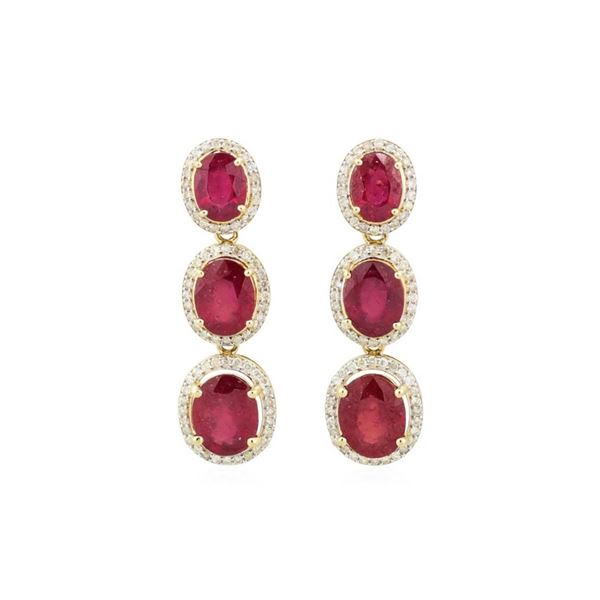 15.25 ctw Ruby and Diamond Earrings - 14KT Yellow Gold
