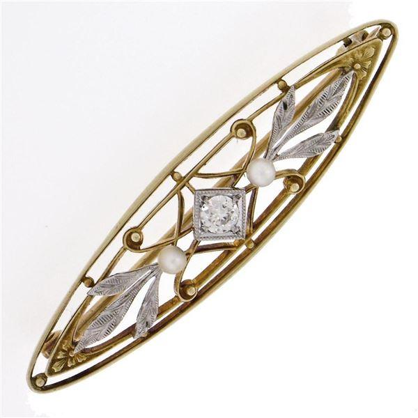 Antique Art Nouveau Krementz 14k Gold Diamond Pearl Open Etched Leaf Pin Brooch