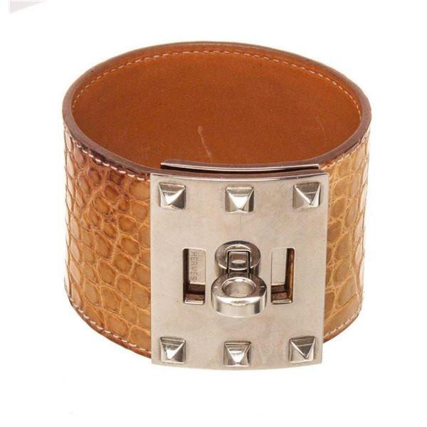 Hermes Tan Brown Alligator Bracelet