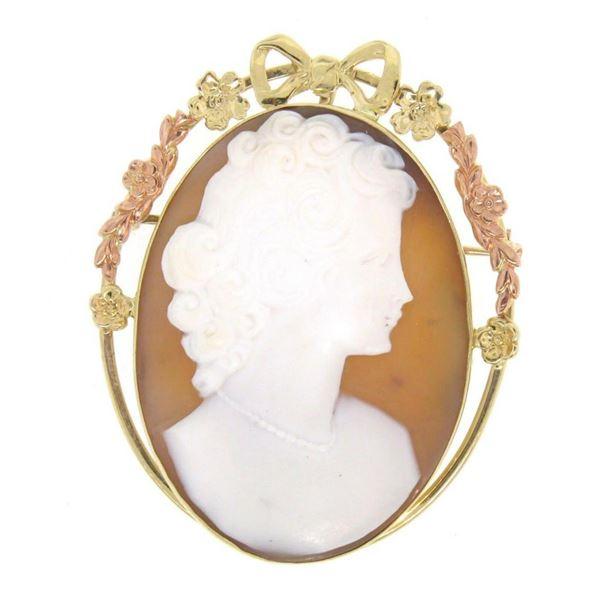 Vintage 10K Yellow & Rose Gold Portrait Cameo w/ Unique Bow & Floral Open Frame