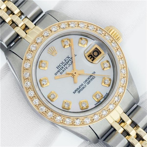 Rolex Ladies 2 Tone MOP Diamond Oyster Perpetual Datejust Wristwatch With Rolex