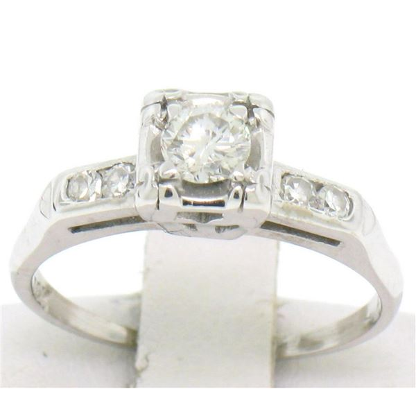 Vintage 14K White Gold 0.37 ctw Diamond Engagement Ring with 4 Accent Diamonds