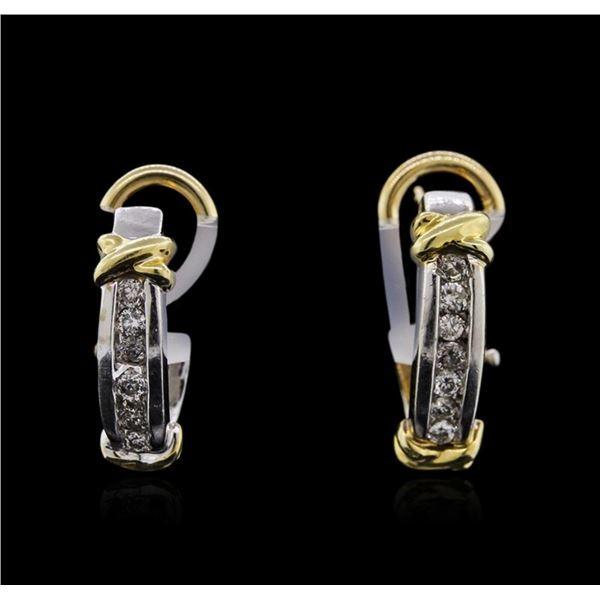 14KT Two-Tone Gold 0.22 ctw Diamond Earrings