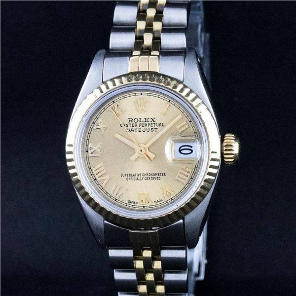 Rolex Ladies 2 Tone Factory Champagne Roman Fluted Datejust Wristwatch