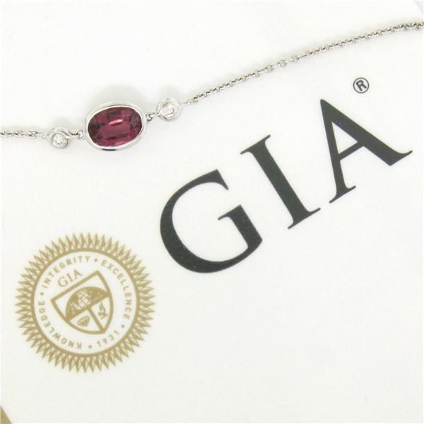 New 18kt White Gold 1.13 ctw GIA Pink Sapphire and Diamond Pendant Necklace