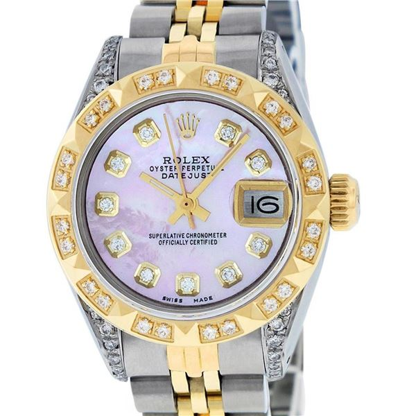 Rolex Ladies 2 Tone Pink MOP Diamond Lugs & Pyramid Datejust Wriswatch