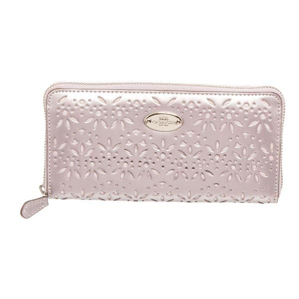 Coach Silver Leather Eyelet Accordian Zippy Wallet