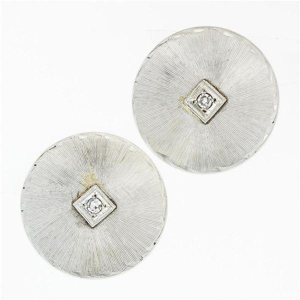 Vintage 14K White Gold Round Circular Disk & Diamond Brushed Button Earrings