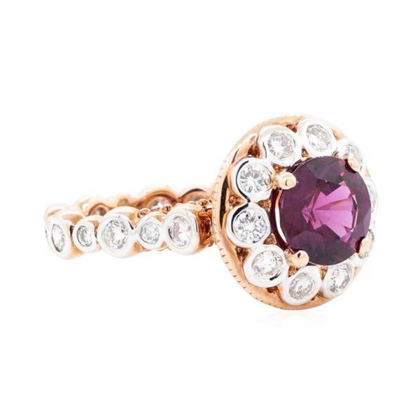 3.01 ctw Round Mixed Rhodolite Garnet And Round Brilliant Cut Diamond Ring - 14K