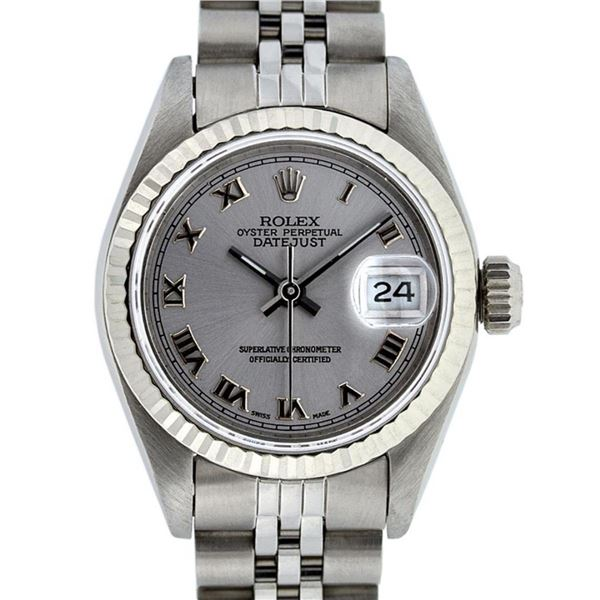 Rolex Ladies Stainless Steel Slate Grey Roman 26MM Oyster Perpetual Datejust