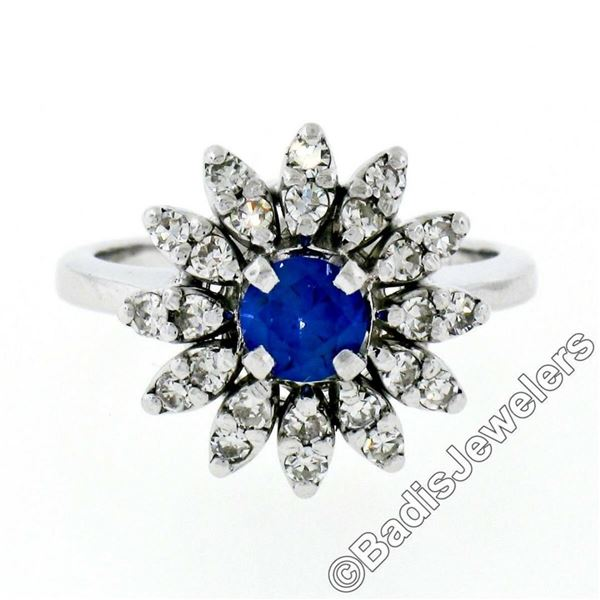 Vintage 14kt White Gold 0.90 ctw Round Sapphire and Diamond Flower Cluster Ring