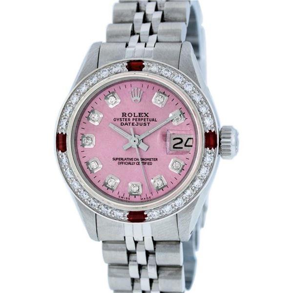 Rolex Ladies Stainless Steel Pink Diamond & Ruby 26MM Datejust Wristwatch