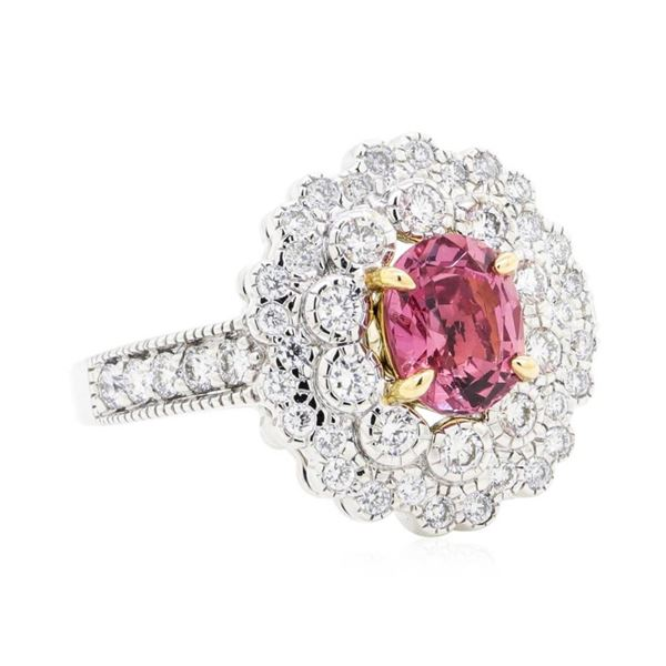 1.85 ctw Oval Mixed Pink Sapphire And Round Brilliant Cut Diamond Ring - 18KT Wh