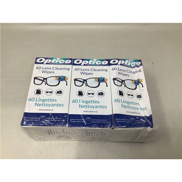 Optico 60 Lens Cleaning Wipes Lot Of 3