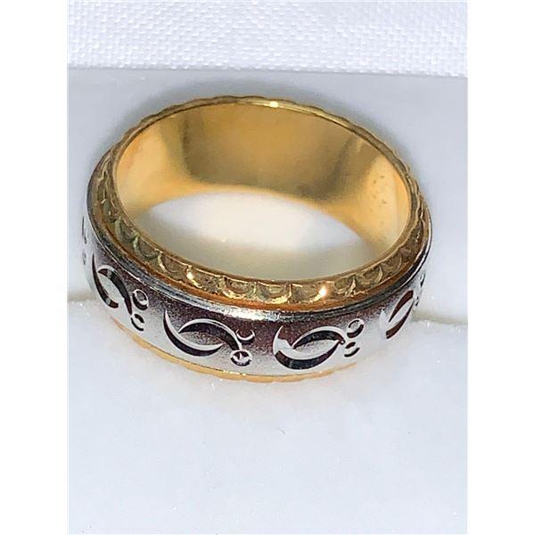 Unisex Celtic Spinner Ring 14K GP two tone NEW Size 8
