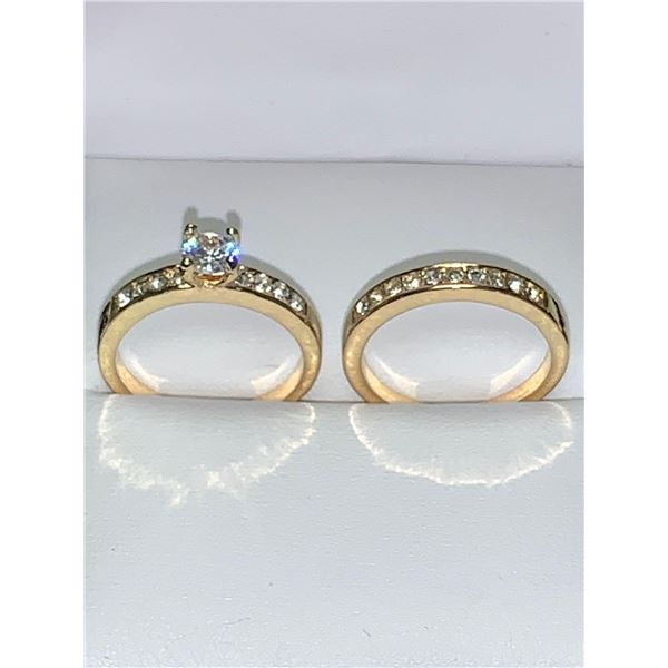Ladies 14K GP NEw .90 Carat Solitaire Wedding and multi stone Engagement Band Set of 2 - Size 7