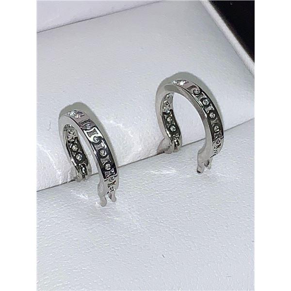 Ladies NEW Crystal .925 Silver hoop Earring Set plated clasps