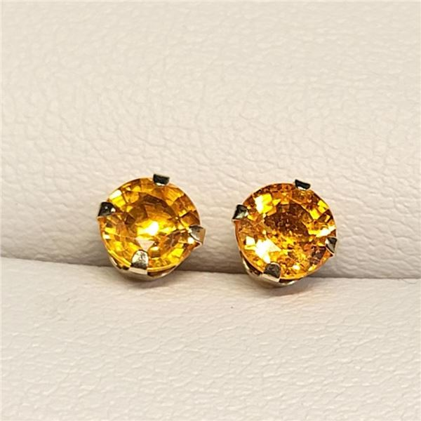 10K Yellow Gold Fancy Sapphire(1.2ct) Earrings (~weight 0.45g), Made in Canada, Suggested Retail Va