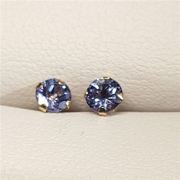 10K Yellow Gold Tanzanite Earrings (~weight 0.22g), Made in Canada, Suggested Retail Value $200
