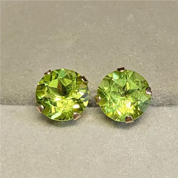 10K Yellow Gold Peridot(1.7ct) Earrings (~weight 0.53g), Made in Canada, Suggested Retail Value $30