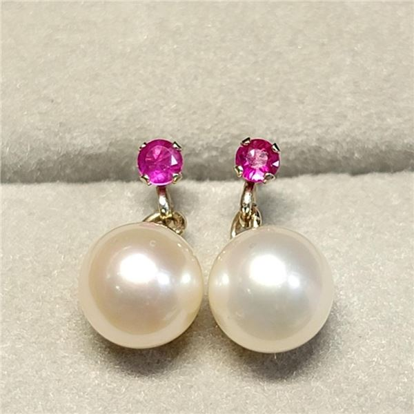 10K Yellow Gold Rubies(0.07ct) Fresh Water Pearl Earrings (~weight 1.39g), Suggested Retail Value $2